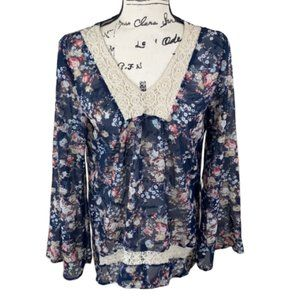 ABOUT A GIRL Floral Sheer Lace Tunic Blouse